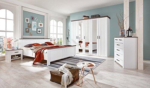 lifestyle4living Schlafzimmer, Schlafzimmermöbel, Komplettset, Bett, Schrank, Kleiderschrank, Drehtürenschrank, 2 Nachtschränke, 180 x 200 cm, weiß,
