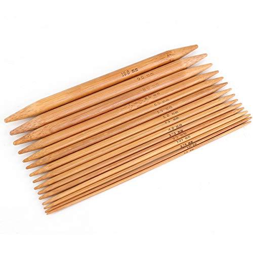 Surepromise 75 Stück Stricknadeln Bambus Nadelspiel Bambusstricknadeln Set in 15 Größen (2.0-10.0mm) Doppelspitzig (15cm Lang)