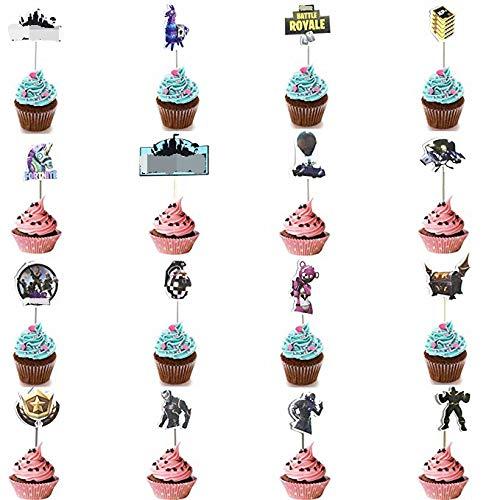 Hizoop 16 Piezas cumpleaños Topper Pastel, Tema de Videojuegos Suministros Fiesta decoración de la Torta,Bandera de la Torta
