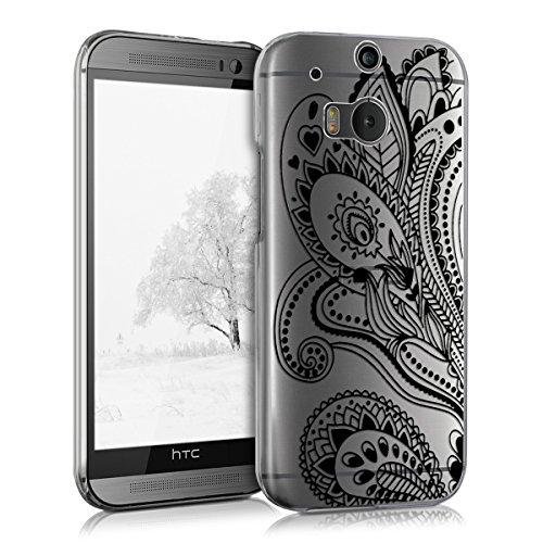 kwmobile HTC One M8 / Dual Hülle - Handyhülle für HTC One M8 / Dual - Handy Case in Paisley Blume Design Schwarz Transparent