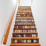 13pcs Simulation Bücherschrank Treppenaufkleber Wohnzimmer Kreative Wandaufkleber