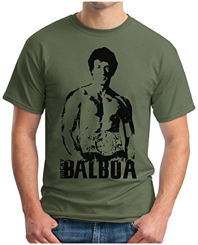 OM3 - ROCKY BALBOA - T-Shirt BOXER 70s 80s The ITALIEN STALLION USA, S - 5XL Oliv