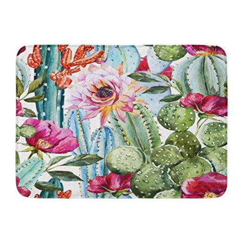 ghkfgkfgk Doormats Bath Rugs Outdoor/Indoor Door Mat Green Desert Watercolor Pattern Flowers Roses and Cactus Bright Tropical Floral Bathroom Decor Rug 23.6 x 15.7 Inch Desert Rose Floral