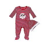 YuanDiann Bébé Fille Garçon Noel Grenouillere Pyjama Combinaison Ensemble  Naissance Père Noël Habit Tenue Barboteuse à fb79edc7c7c