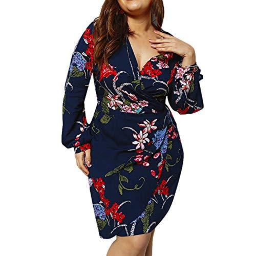 iYmitz Blumen Langarm Minikleid Sommer Mode Frauen V-Ausschnitt Damen Urlaub Plus Größe Kleid Heißer Freizeit Rock Für Damen(Marine,EU-44/CN-2XL)
