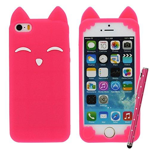 iPhone 5C 5S Rose Case, Filles Style, Dessin animé Style 3D Renard Modélisation Silicone Coque Étui de protection pour iPhone 5 5S 5C 5G, Coloré Soft & élastique Prime Silicone Cover Case + 1 Stylet Rouge
