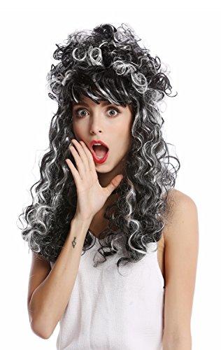 103+ZA68 Perücke Damen Halloween Karneval Barock Renaissance Hochsteckfrisur lang lockig grau schwarz weiß gesträhnt (Lockige Perücke Halloween)
