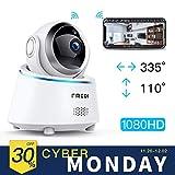 FREDI IP Caméra de Surveillance 1080P Caméra Sécurité Wifi Sans Fil Détecteur de Mouvement Infrarouge à Vision Nocturne Intérieur Babyphone Bidirectionnel pour Animal de Compagnie