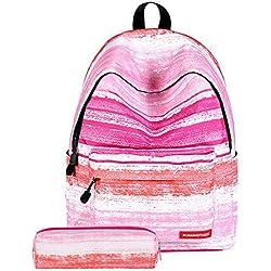 Mochilas Escolares Juveniles Galaxia Impresión Moderna Mochila Escolar Infantiles Lona Bolsa Casual Backpack Laptop Mochila de Viaje con Cartera para Adolescentes (Rayas Rosa, 40cmx30cmx17cm)