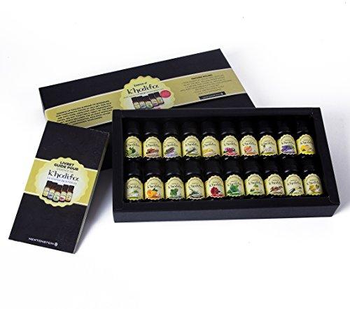 Essence Of Khalifa - 20-teiliges Set mit 10ml luxuriösen 100 and reinen ätherischen Ölen für die Aromatherapie - therapeutische Öle - eine Auswahl der 20 besten Öle mit Anleitung und Rezeptbuch