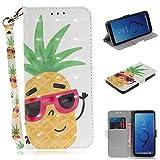Huphant Compatible for Samsung S9 Hülle, Samsung Galaxy S9 Handy Hülle Schwarz Schutzhülle Silikon Wallet Case für Samsung Galaxy S9 tasche Magnet Cover -Gläser Ananas