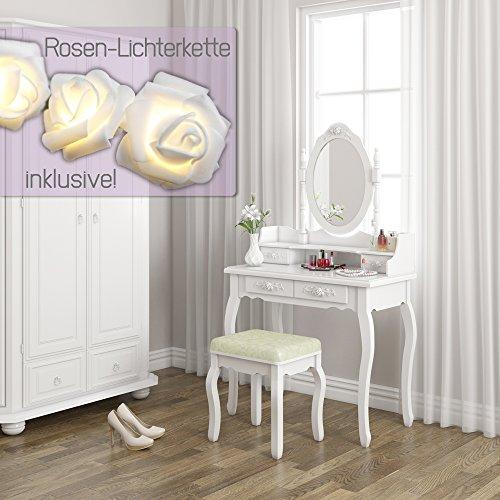 Schminktisch Hocker Kosmetiktisch Frisierkommode Frisiertisch Spiegel Lady Rose - 2