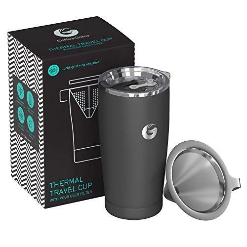Coffee Gator Pour Over Kaffeebereiter - All-in-One Thermo-Kaffeebecher für unterwegs und Handtropf-Kaffeemaschine - Vakuumisolierter Edelstahl mit papierlosem Filter - 585ml - Grau -