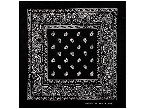 1 x Bandana Tuch Paisley SCHWARZ 100% Baumwolle Kopftuch Halstuch Schal (Frauen Gangster)