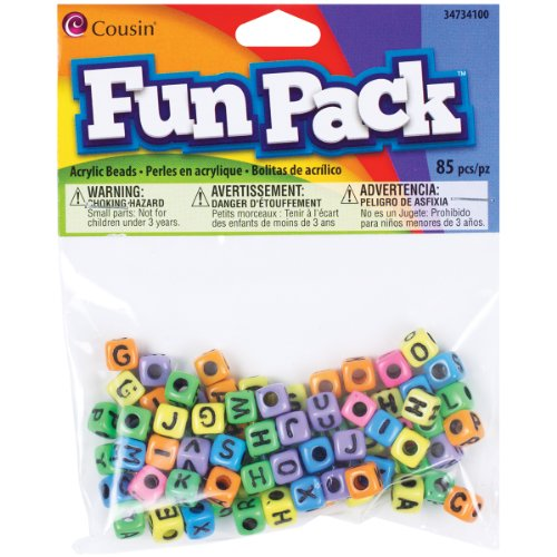 Cousin Fun Packungen 85TLG. Alpha Perlen Quadratisch Rainbow Mix
