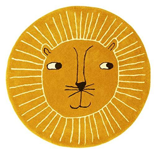 Alfombra redonda amarilla infantil con león