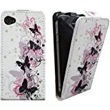 Xtra-Funky Exclusive Leather Flip Style Wallet Case Cover with Beautiful Stylish Pink / Black Flower Floral & Butterflies Designs For iPhone 4 / 4S - Design B7