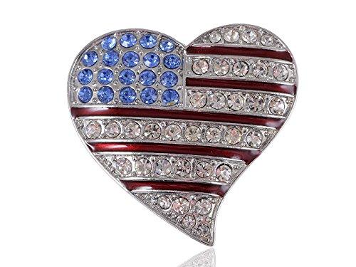 Spilla a forma di bandiera degli Stati Uniti d'America, in cristallo con strass, gioiello decorazione (Tone Cuore Spilla)