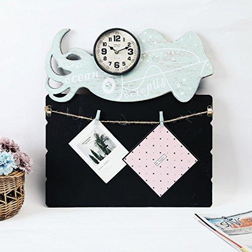 PIGE Créative Européenne Petit Tableau Noir personnalité en Bois Mode Horloge Murale Salon Moderne sourdine Simple Ronde Nombre Art Design Horloge (Couleur : D)