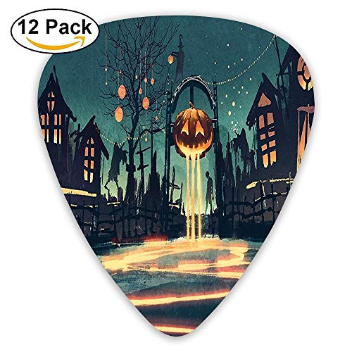 Halloween Theme Night Pumpkin And Haunted House Ghost Town Artful Guitar Picks 12/Pack Set