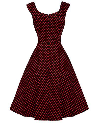 Damen 50s Vintage Retro kreisförmig Ausschnitt ärmellos Rockabilly Cocktail Party Kleider XL Rot Punkt -