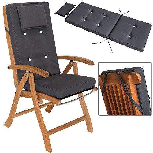 6x Coussins gris pour chaises Haut-dossier Vanamo - 7cm épaisseur