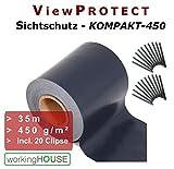 SICHTSCHUTZ VIEWPROTECT KOMPAKT - 450  Zaunfolie 35m x 19 cm  hochwertig  stabil  blickdicht (anthrazit mit 20 Klemmstreifen)