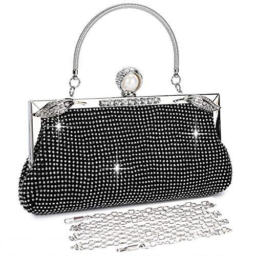 BAIGIO Damen Abendtasche Handtasche Strass Perle Clutch mit Schulterkette Schultertasche Glitzer Elegant -