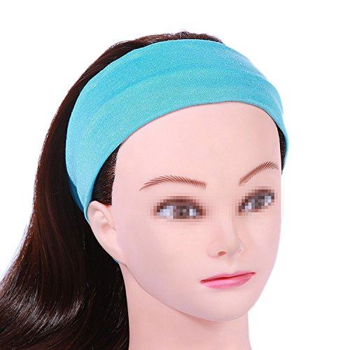 Funyye Fashion Frauen Lady Weiche Baumwolle Elastic Stretch Sport Schweißband Headbands Mädchen Haar Band Yoga Stirnband Turban Stirnband Haar-Band Zubehör - Licht Blau (Camping-womens Licht)