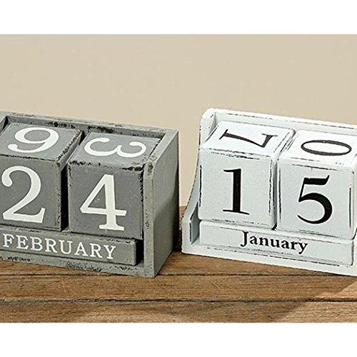 Kalender aus Würfel Dauerkalender Holz MDF Weiss oder Grau Used Look