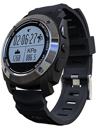 GPS Smart Watch Altimeter Barometer Heart Rate Monitor Fitness Tracker Sports Watch Black