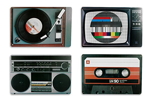 Retro Placemat Set of 4. Includes Record Player, TV Set, Boombox and Cassette Tape designs.
