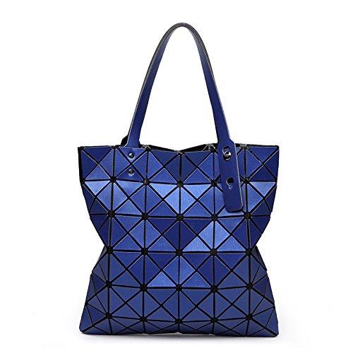 Preisvergleich Produktbild YUEER Frauen Geometrie Taschen Handtaschen Matt Gebürstet Lingge Vielfalt Falten Schulter Zauberwürfel,Blue-33 * 33cm
