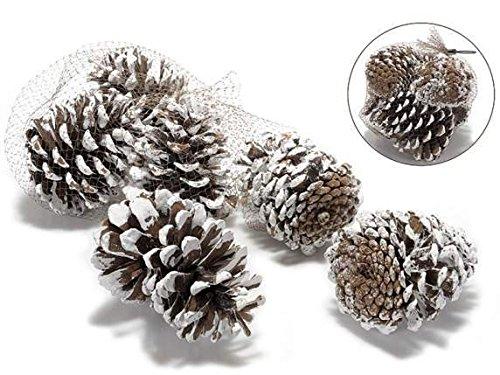 Confezioni di ,pigne innevate , decorazioni di natale da appendere, addobbi x pacchi regalo
