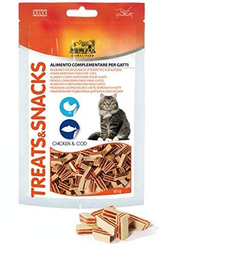 snack per gatti con pollo e merluzzo 13 confezioni 50 grammi l'una