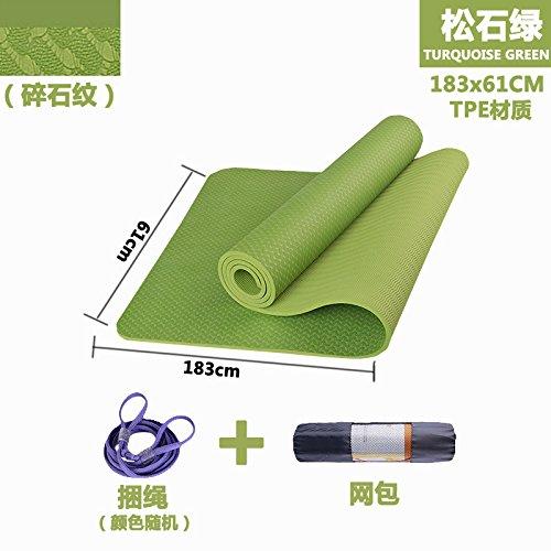 YOOMAT Der Anfänger TPE-Yoga-Matten-Sport Anti-Rutsch-Pad-Erweiterung Thick Kein Geruch Yoga 垫-System-Logo, 6Mm (Starter), Lose Steine Grün mit Einem Paket + Strap 140935