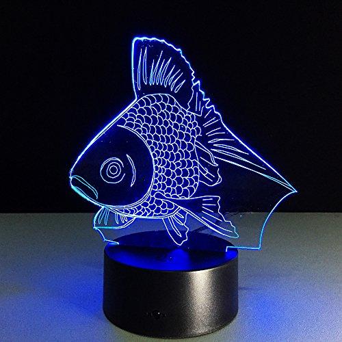 v Nachtlichter 3D Illusion LED Touch Kontroll Ändern Lampe 7 Farben Nacht Lichter mit USB Weihnachten Halloween Home Decoration(Fisch) (7 color touching) (In Der Halloween-nacht Vor Weihnachten)