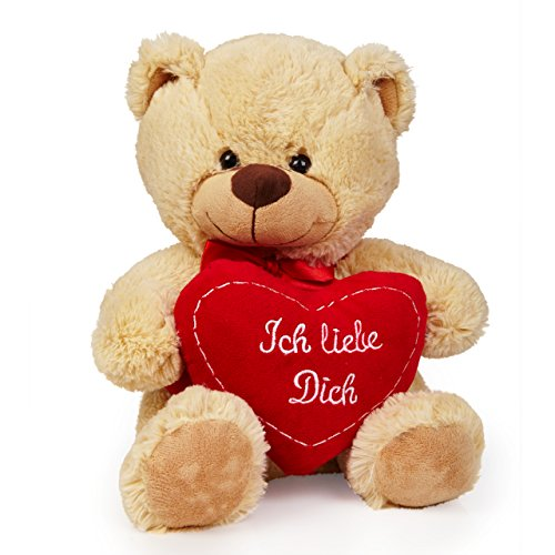 Preisvergleich Produktbild Lumaland Teddybär beige 30cm Plüsch Kuschelbär Ich liebe Dich Herz