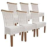 casamia Rattanstuhl-Set Perth 6 Stück weiß, Sitzkissen Leinen weiß ohne Sitzkissen