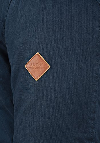 BLEND Ken Herren Winterjacke Jacke mit Stehkragen und abnehmbarer Kapuze aus 100% Baumwolle Navy (70230)