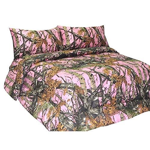 The Woods Premium Mikrofaser Camo-Bettlaken-Set, Polyester, rose, Volle Größe - Orange Camo Stoff