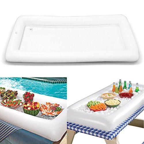 Tragbar aufblasbar Tisch-Innen- und Außenbereich Party Picknick Pool für servieren Salat Buffet Bar Bier Kreieren einen Instant Ice Station (weiß)