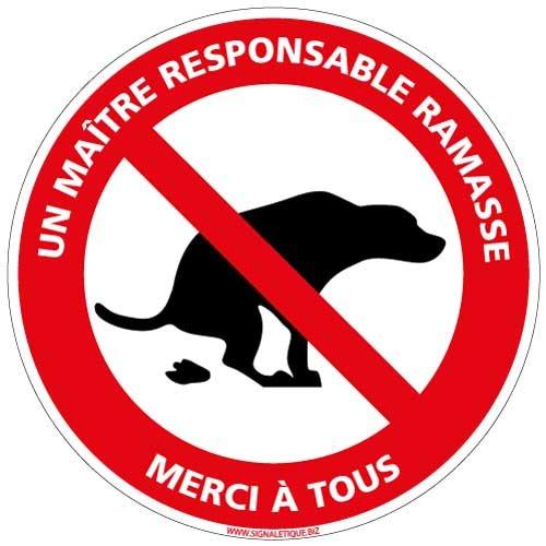 Déjection canine interdite Un maître responsable ramasse - Panneau - Plastique rigide disque PVC 1,5 mm - Diamètre 250 mm - Double face au dos - Panneau déjection canine