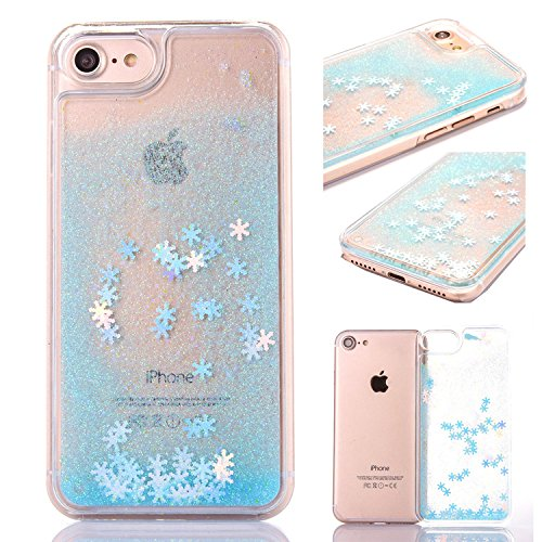 iPhone 7 Glitter Case,Crystal Clear Ultra Thin TPU Floating Sparkle Stars Quicksand Liquid Bling Glitter Case for iPhone 8,Cover for iPhone 7/iPhone 8 with 4.7 inch Screen,3D Creative Funny Cute Liquid Flowing Floating Sparkle Bling Glitter Snow Design Transparent Soft Flexible Bumper Protective Shell Case Cover for Apple iPhone 7/iPhone 8 4.7 inch