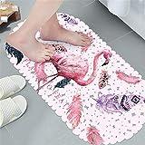 Lindong Hochwertig PVC Badematte Anti-Rutsch Anti-Bakterien mit starken Saugnäpfen Sicherheit Duschmatte Badewannenteppich Badvorleger Fußmatte Massagematte 35x69cm Flamingo