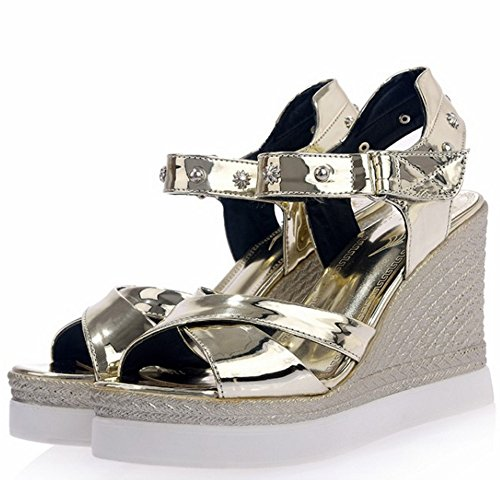 TAOFFEN Femmes Compenses Sandales Mode Plateforme Talons Hauts Scratch Chaussures Or