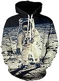 Sudaderas con capucha de la galaxia de Los hombres HD colorido 3D imprimieron el suéter Unisex de la manga de Harajuku encapuchada (S/M, Astronauta)