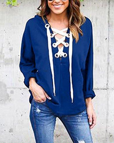 Damen Langarmshirt Kapuzenpulli Bluse T-Shirt Hemd Schnür Tops Blau