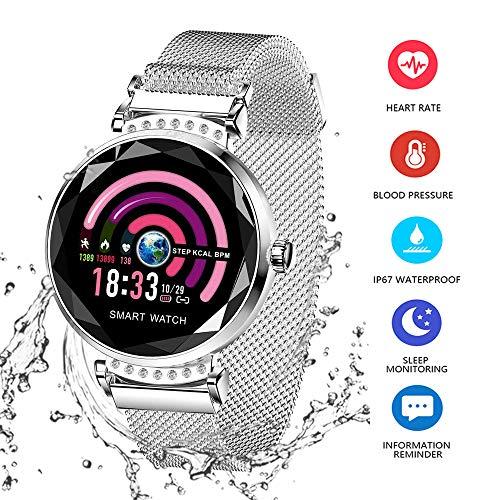 Wysgvazgv Smart Armband Damen H2 Fitness Tracker Armband mit Pulsmesser Blutdruck Herzfrequenz Schlafmonitor Smartwatch Wasserdichte IP67 Schrittzähler Farbbildschirm für Frauen Android iOS (Silber)
