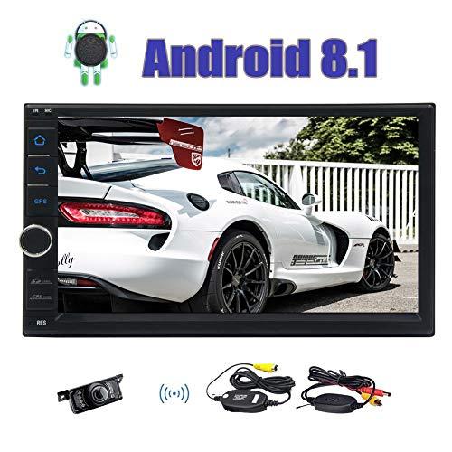 Neueste Android 8.1 Oreo OS GPS In Dash Navigation Autoradio Double 2 Din 7 Zoll-Auto-Stereo-Unterstützung AM FM RDS Radio Receiver Bluetooth Lenkrad-Steuerung Spiegel Link & Wireless Rückfahrkamera (2 Din 7 Zoll-auto-stereo)